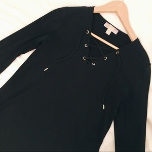 Michael Kors Black Bell Sleeve Top